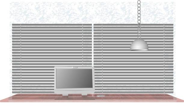 ein computertisch mit einem monitor und einer maus. am arbeitsplatz. vektor-illustration - schultischrenovierung stock-grafiken, -clipart, -cartoons und -symbole