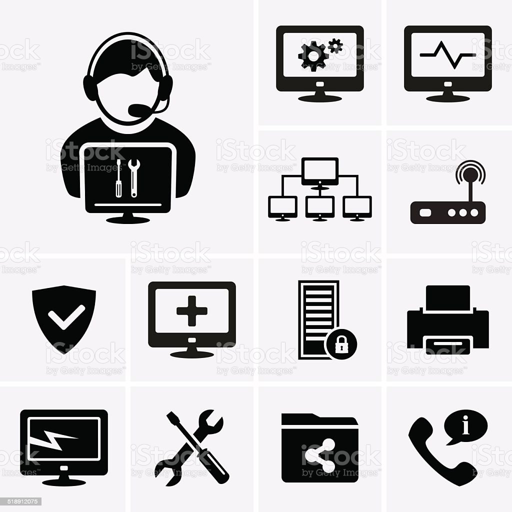 Computer technician icons vector art illustration