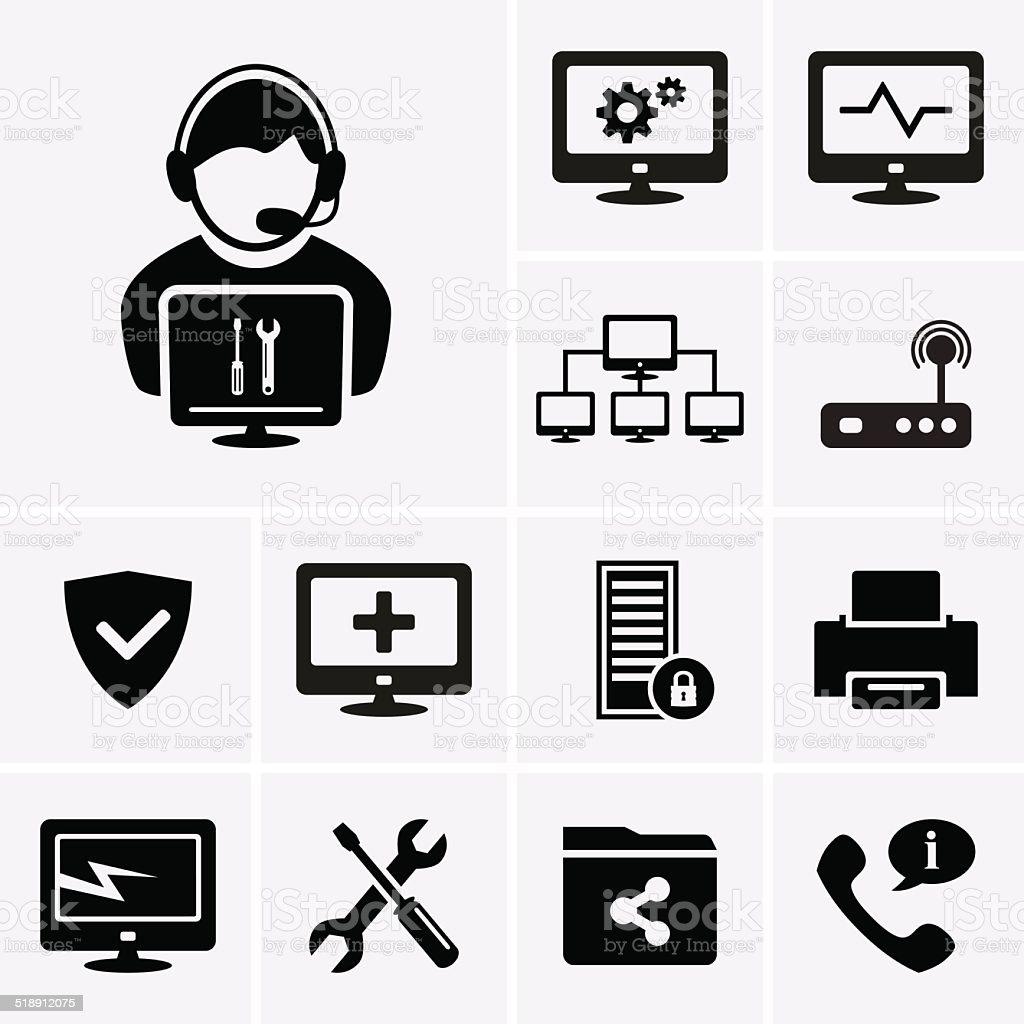 Computer technician icons vector art illustration