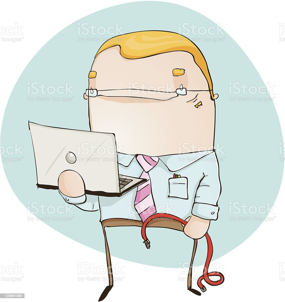 Computer Technician with Laptop and Cable vector art illustration