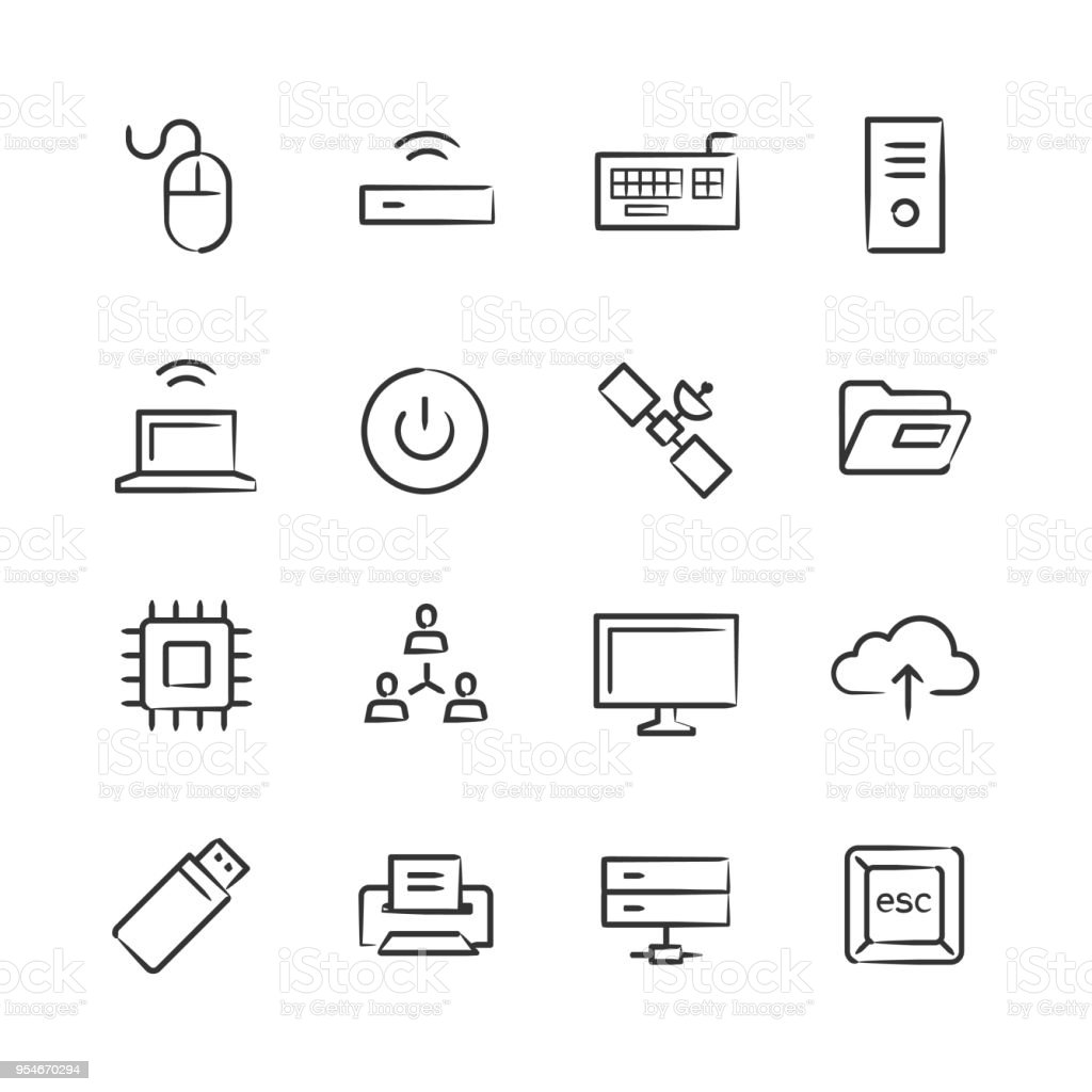 Computer Technology Icons — Sketchy Series vector art illustration