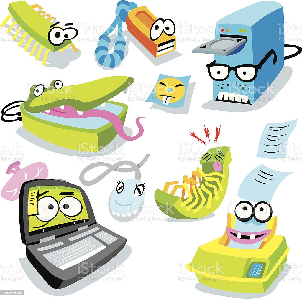 Computer Technology  - scanner Printer, Flash Drive, Laptop royalty-free computer technology scanner printer flash drive laptop stock vector art & more images of cd-rom