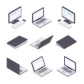 Computer technology - set of modern vector isometric elements