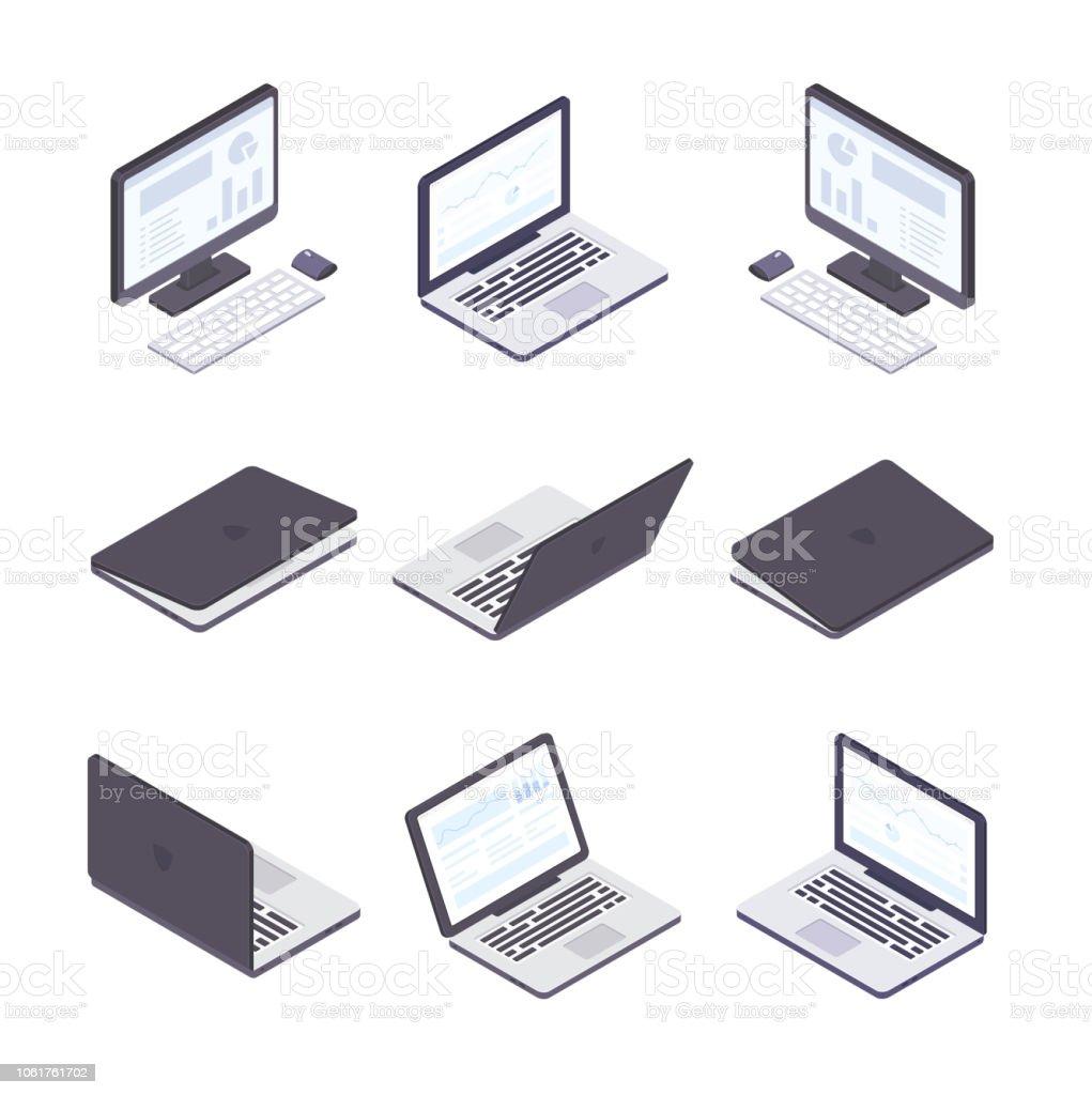 Informatique - ensemble d'éléments isométrique vecteur moderne - Illustration vectorielle