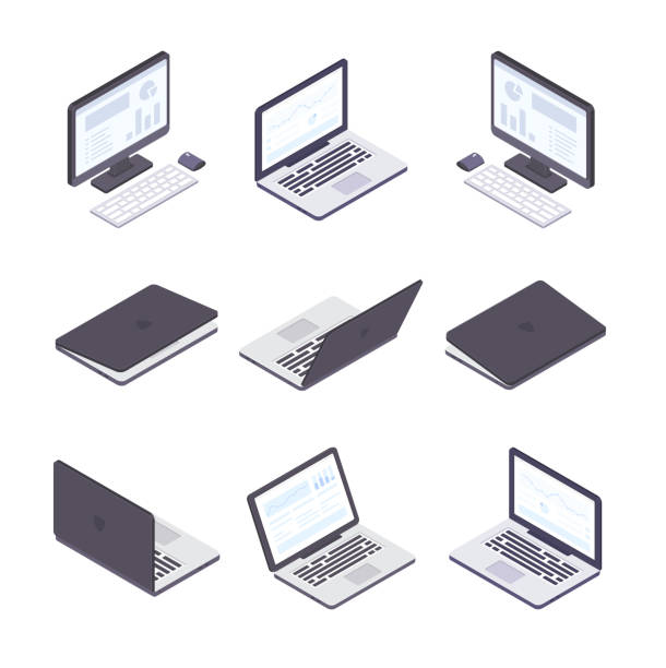 Computer technology - set of modern vector isometric elements Laptops and computers - set of modern vector isometric elements isolated on white background. Open and closed laptops, office monitors with keyboards and mouse. Infographic charts, diagrams on screen desktop pc stock illustrations