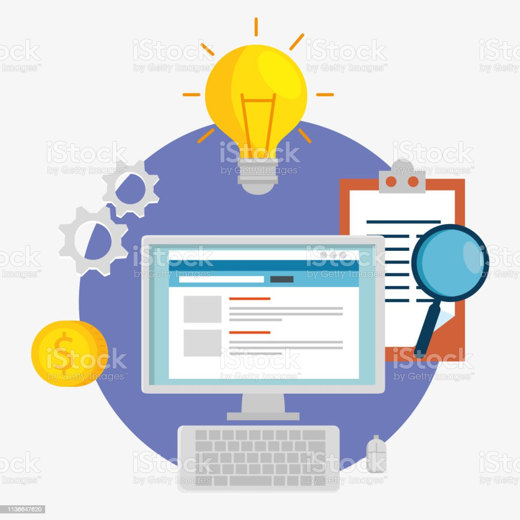 computer technology with bulb idea and check list vector illustration