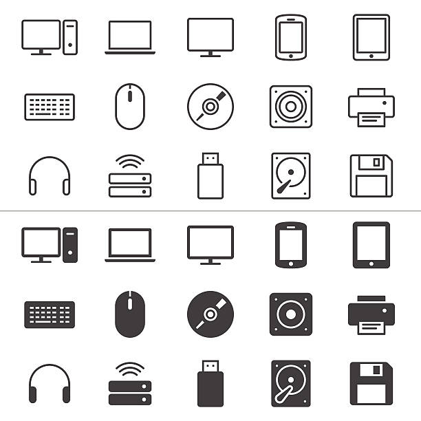 Computer dünne Symbole – Vektorgrafik
