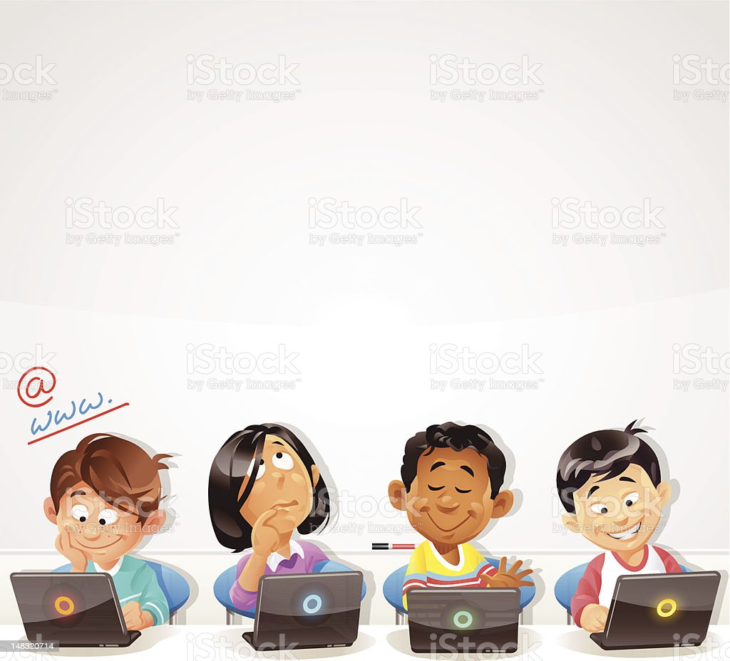 Computer Training for Kids vector art illustration