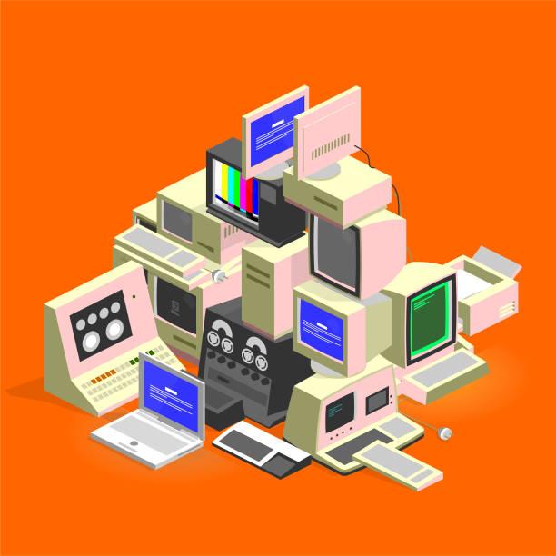 computer trash computer trash - isometric obsolete stock illustrations