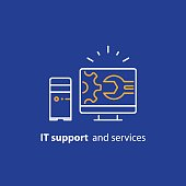 Computer upgrade, system update, software installation, repair services, IT support line icon