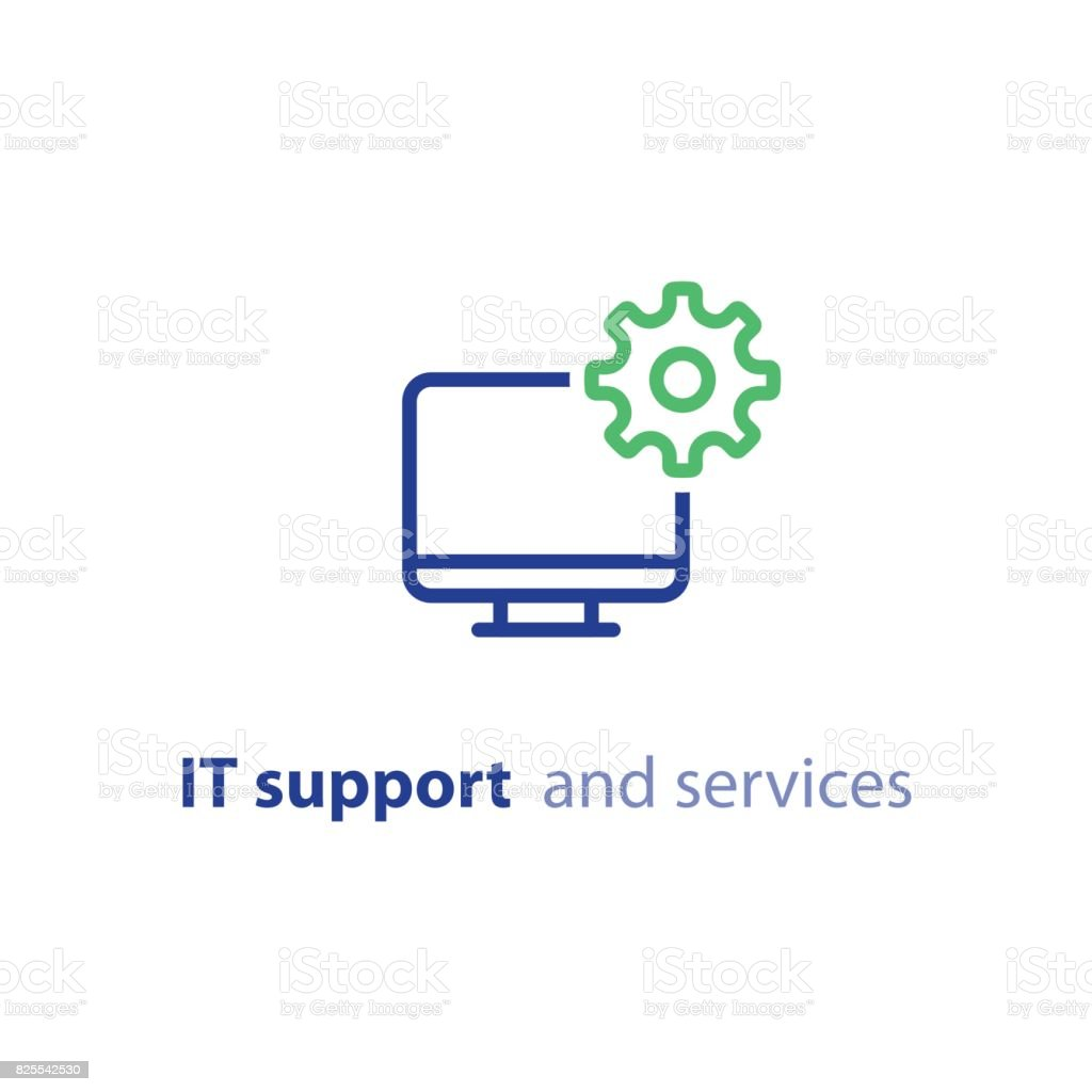 Computer upgrade, system update, software installation, repair services, IT support line icon vector art illustration
