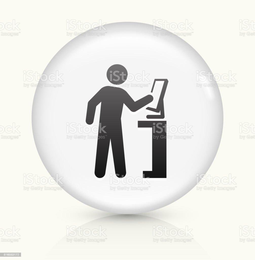 Computer User icon on white round vector button vector art illustration
