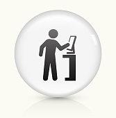 Computer User icon on white round vector button