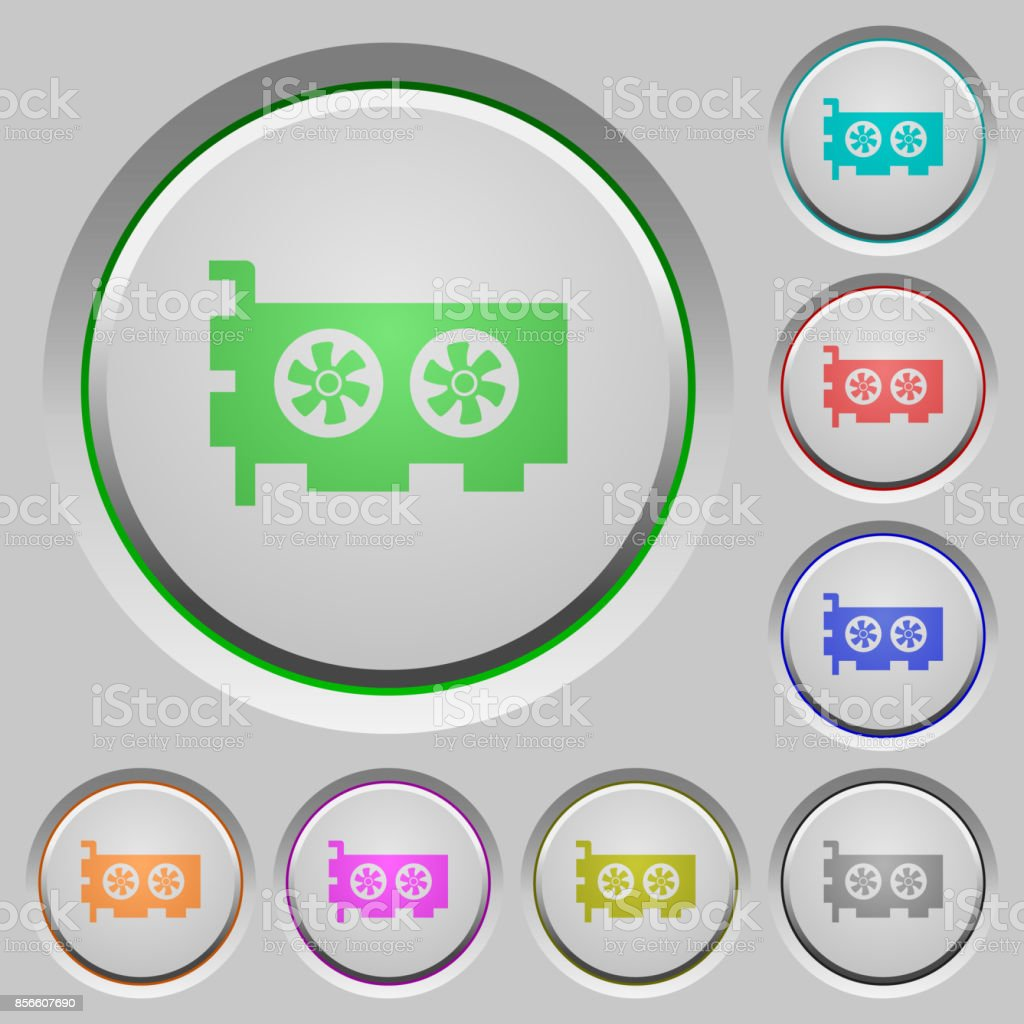 Computer video card push buttons vector art illustration