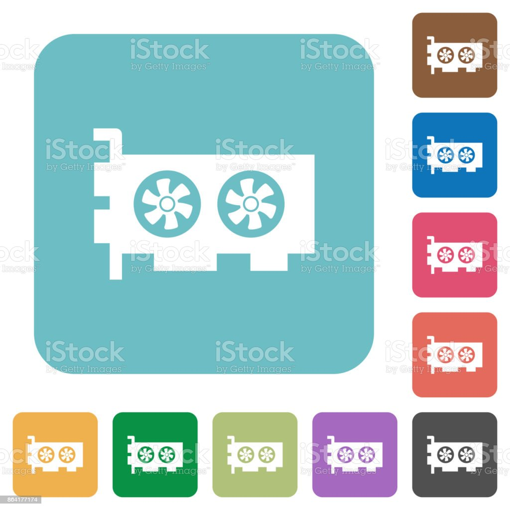 Computer video card rounded square flat icons royalty-free computer video card rounded square flat icons stock vector art & more images of applying