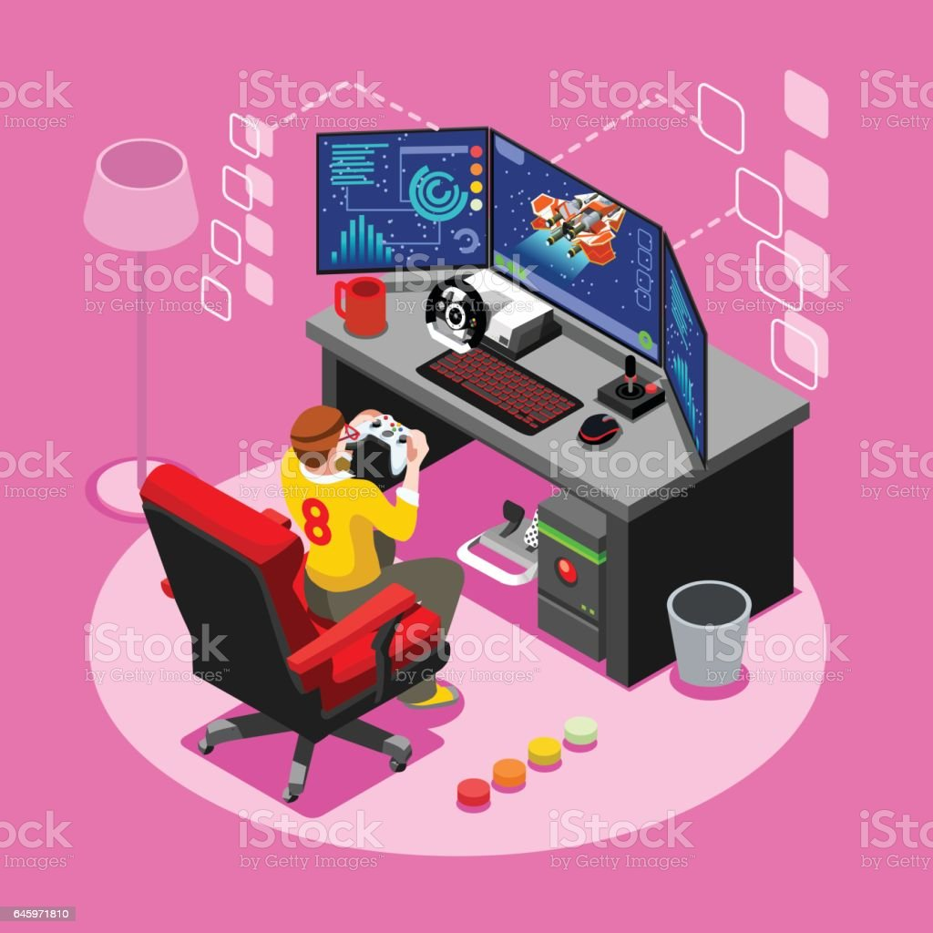 Computer Video Game Isometric Gaming People Vector Illustration vector art illustration