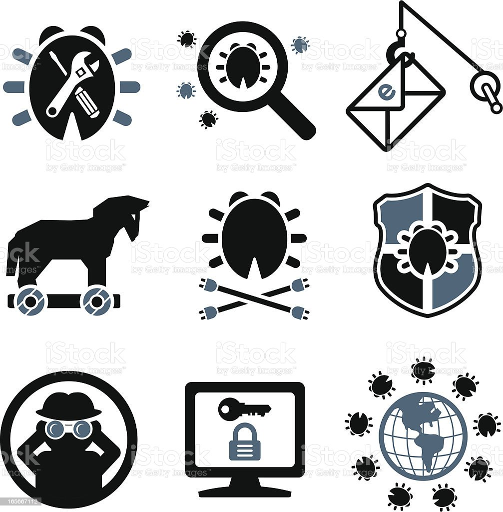 Computer Virus And Protection Icons Stock Vector Art & More Images ...