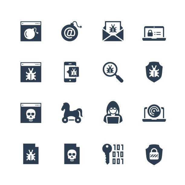 Computer virus, digital protection and hacker attack icon set in glyph style Computer virus, digital protection and hacker attack icon set in glyph style antivirus software stock illustrations