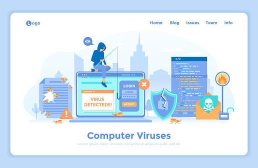 Computer Viruses and Hacker Attack. Errors detected, alert messages, bugs, open lock, infected files, broken shield. Thief hacker stealing password. landing web page design template decorated people