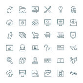 Computer viruses, cyber attack, hacking set of vector icons