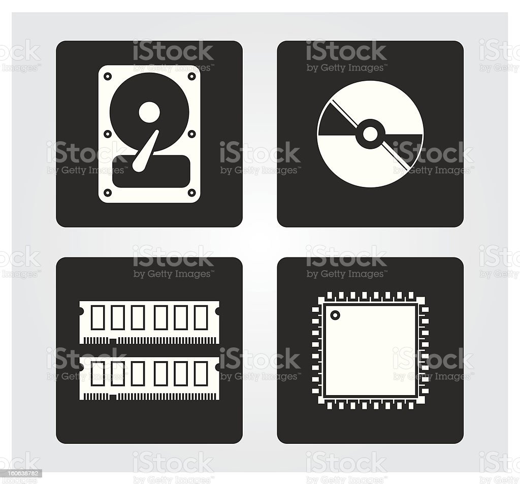 Computer web icons: drives and components royalty-free stock vector art