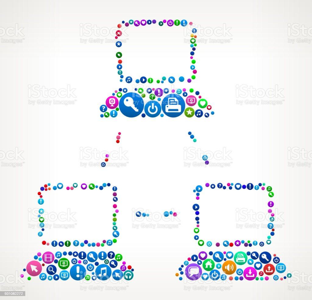 Computer Web Internet Communication Technology Icon Pattern vector art illustration