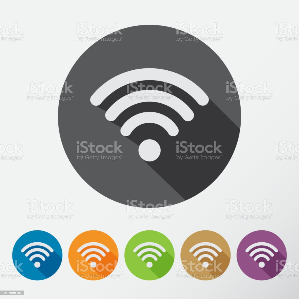 Computer wifi connection icons set for phone or mobile device vector art illustration