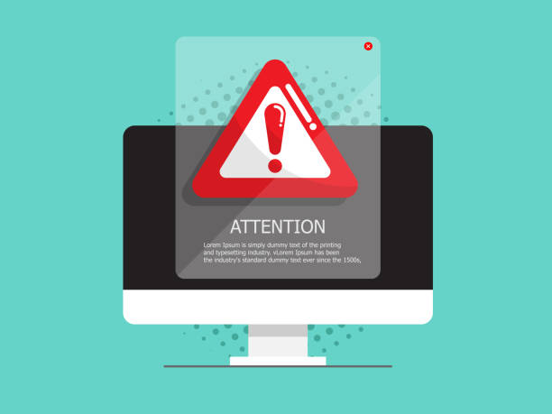 computer with attention, warning sign vector art illustration