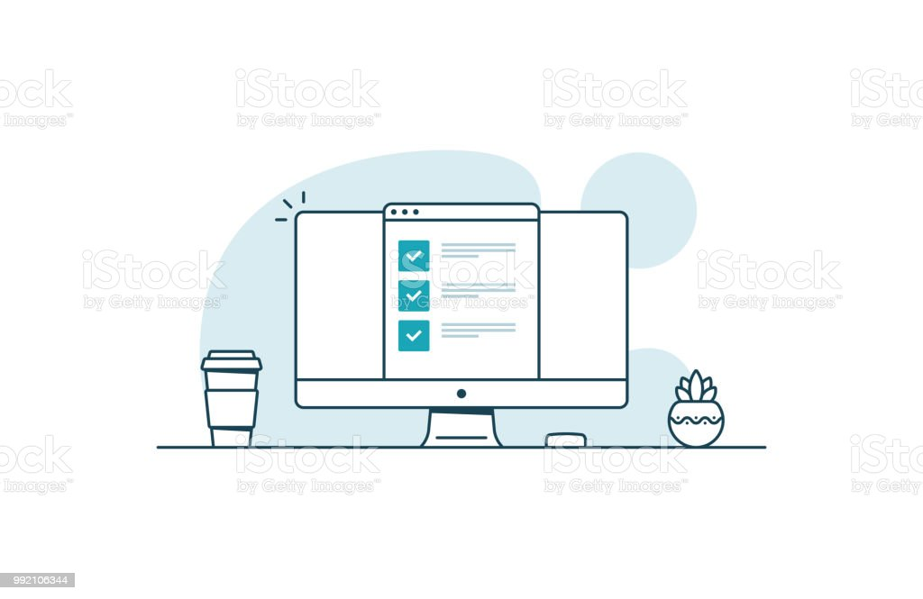 Computer with checklist. Workspace with computer, coffee cup, plant and browser with checkboxes. Vector illustration in line art style - arte vettoriale royalty-free di Accordo d'intesa