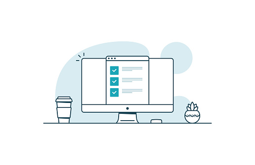 Computer with checklist. Workspace with computer, coffee cup, plant and browser with checkboxes. Vector illustration in line art style clipart