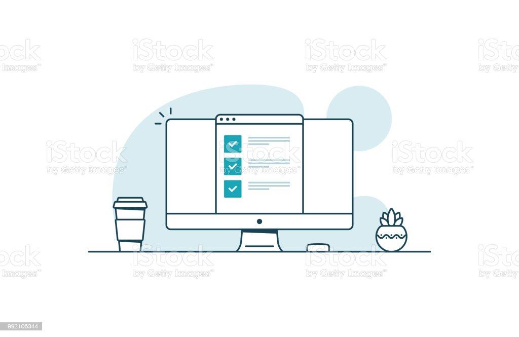 Computer mit Checkliste. Arbeitsbereich mit Computer, Kaffeetasse, Pflanze und Browser mit Checkboxen. Vektor-Illustration in Kunst Linienstil – Vektorgrafik