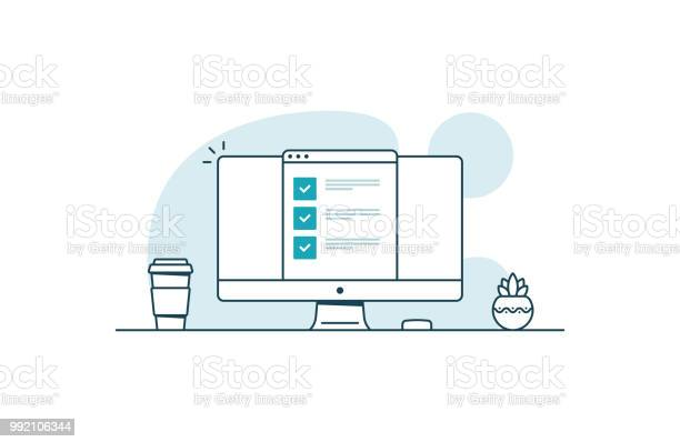 Computer With Checklist Workspace With Computer Coffee Cup Plant And Browser With Checkboxes Vector Illustration In Line Art Style - Immagini vettoriali stock e altre immagini di Accordo d'intesa