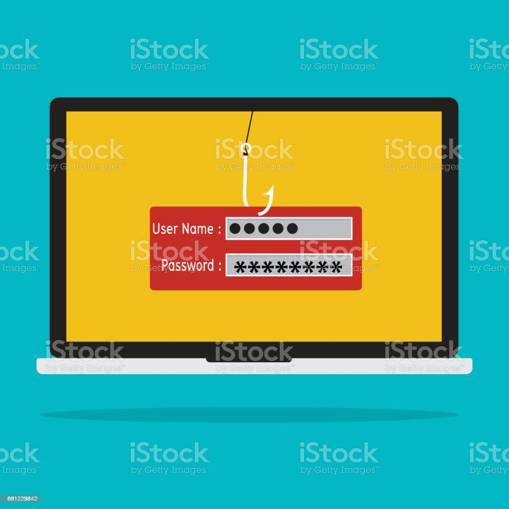 Computer with malware virus phishing username and password logon. Vector illustration business computer security technology concept. vector art illustration