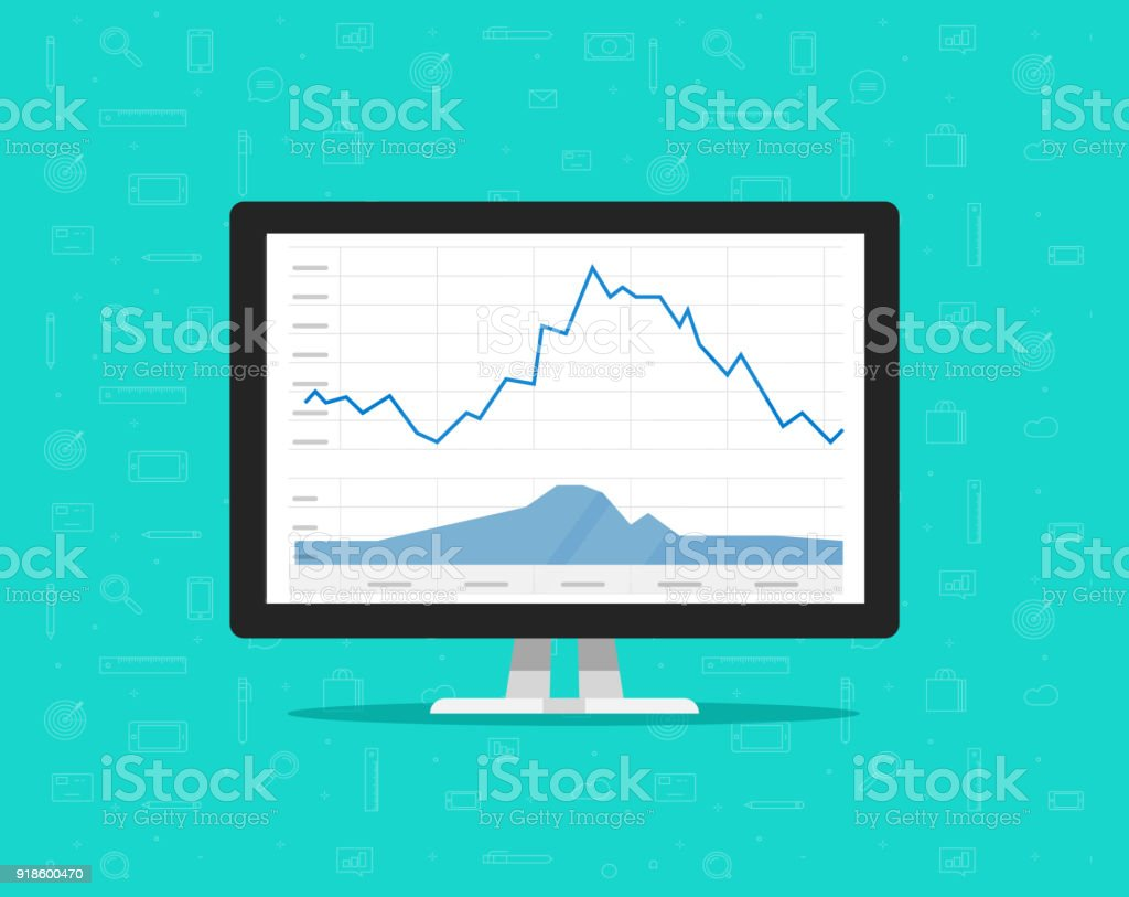 Computer With Stocks Graphs Vector Illustration Flat Cartoon Desktop Pc Diagram Image Monitor Stock Charts On