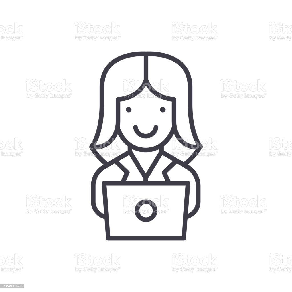 Computer work black icon concept. Computer work flat  vector symbol, sign, illustration. royalty-free computer work black icon concept computer work flat vector symbol sign illustration stock vector art & more images of adult