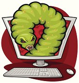 an ugly computer worm emerging from your screen