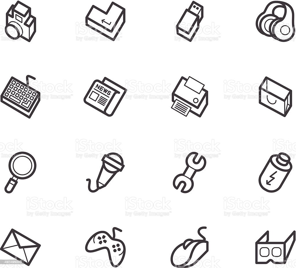 computer_element_vector_icon_set_on_white_background royalty-free stock vector art