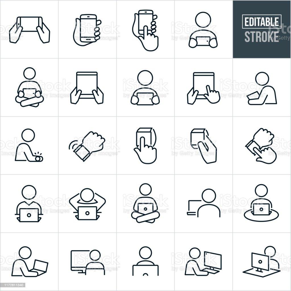 Computer und Geräte Dünne Linie Icons - bearbeitbare Strich - Lizenzfrei Abspann Vektorgrafik