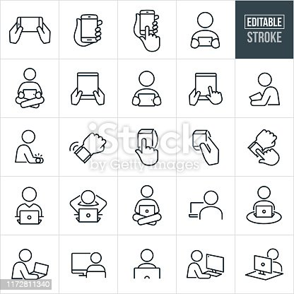 A set of computer and devices icons that include editable strokes or outlines using the EPS vector file. The icons include smartphones, mobile phones, people using smartphones, tablet pc, people using tablet pc, smart watches, people using smart watches, laptop computers, people using laptop computers, desktop computers and people using desktop computers.