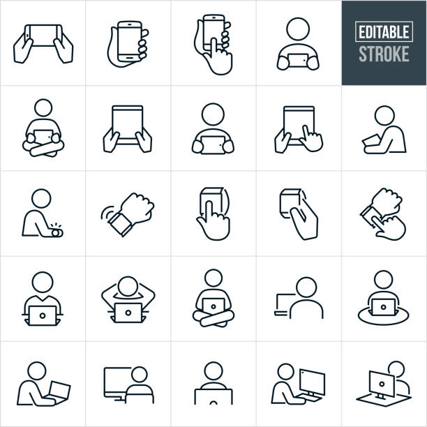 Computers And Devices Thin Line Icons - Editable Stroke A set of computer and devices icons that include editable strokes or outlines using the EPS vector file. The icons include smartphones, mobile phones, people using smartphones, tablet pc, people using tablet pc, smart watches, people using smart watches, laptop computers, people using laptop computers, desktop computers and people using desktop computers. person icon stock illustrations