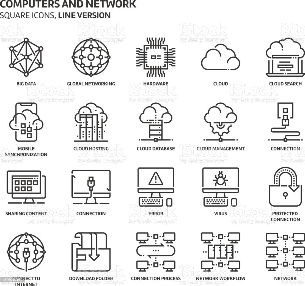 Computers and network, square icon set vector art illustration