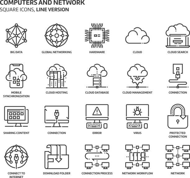 コンピューターやネットワーク、正方形のアイコン セット - テクノロジーのアイコン点のイラスト素材/クリップアート素材/マンガ素材/アイコン素材