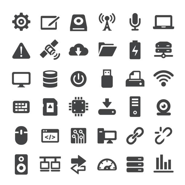 Computers and Technology Icons - Big Series Computers and Technology Icons usb stick stock illustrations
