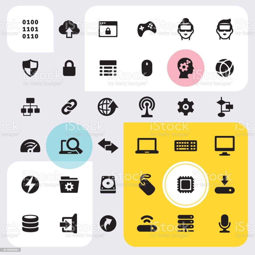 Computers and Technology icons set vector art illustration