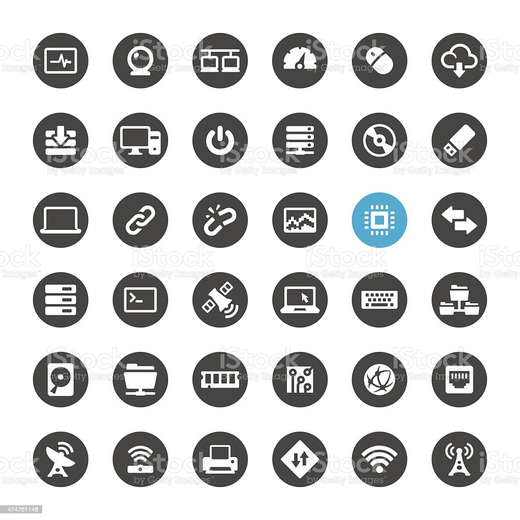 Computers and Wireless vector icons vector art illustration