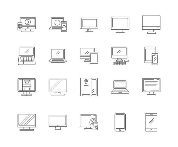 ilustrações, clipart, desenhos animados e ícones de linha ícones dos computadores, sinais, jogo do vetor, conceito da ilustração do esboço - mobile