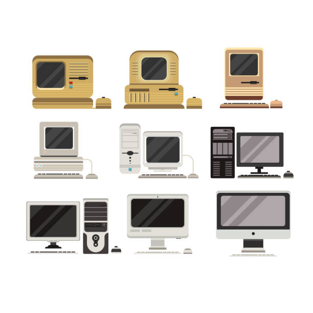 Computers set, PC evolution from obsolete to modern vector Illustrations on a white background Computers set, PC evolution from obsolete to modern vector Illustrations isolated on a white background. obsolete stock illustrations
