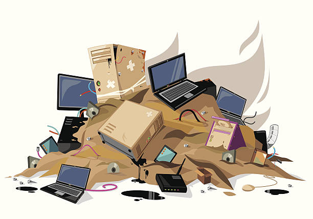 Computers waste Computers waste pile obsolete stock illustrations