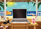 Cartoon style illustration of a typical laptop, on a table in a beach hut overlooking the sea. On the table are sunglasses and a drink, while on the floor are some beach sandals. There is a sun lounger and umbrella and a moored yacht a little further out. Copy space on the computer screen for your own message.