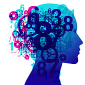 A person's side silhouette positioned centrally, overlaid with various semi-transparent numerals, computer circuit and gears shapes and details.
